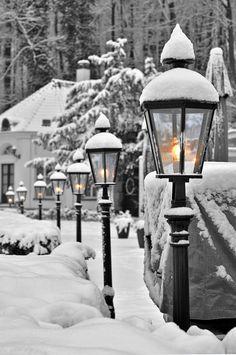 Belos lampiões no inverno...