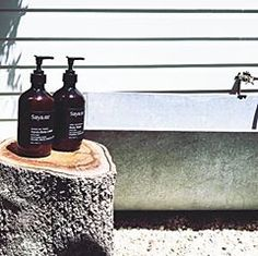 Our Basin Essentials bathside at one of the incredible @byron_beach_abodes properties  #SayaSkincare Hand + Body Lotion & Body Wash