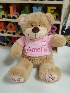 Teddy Bear Pink Medium size Personalised delivery across Ireland Personalised Teddy Bears, Rag Dolls, Medium, Toys, Pink, Animals, Personalized Teddy Bears, Fabric Dolls, Activity Toys