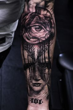 Illusion balck and grey tattoo