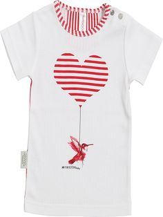 Sooki Baby I Heart Birds Tee.  This shirt has a red striped heart with a bird attached. It has striped fabric around neck and also back.  It has side metal fasteners and short sleeves.  100% cotton and machine washable.