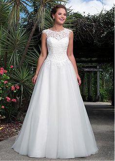 Gorgeous Lace & Organza Bateau Neckline A-line Wedding Dresses with Beadings & Rhinestones