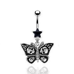 BUTTERFLY SKULL STAR BELLY NAVEL RING GOTHIC BLACK BUTTON PIERCING JEWELRY B232 | eBay