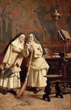 Between Chores by Peruvian Painter Daniel Hernández Morillo 1856-1932