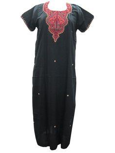 Long Black Caftan Dress Cotton Designer Embroidered Kaftans Nighty M