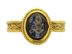 Ancient Roman signet ring with engraving of a soldier, 1st to 2nd century AD.