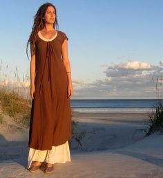 Long Drawstring Neck Dress (hemp/organic cotton knit) 3/4 length good for summer, with a long sleeved t in winter.