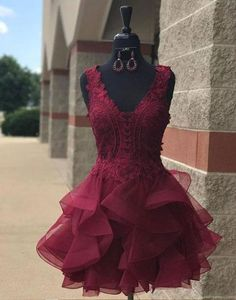 Cute v neck lace tulle mini prom dress, homecoming dress, burgundy cocktail dress