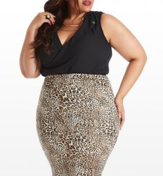 Show Your Fangs Animal Pencil Skirt by Fashion to Figure on CurvyMarket.com