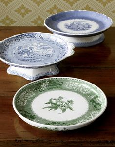 Serving Wares Were a Marriage of Function and Form In the early dinners were usually served à la française, that is, with most of the food set out on the table beforehand. Shown here: cheese stands. Green China, Blue And White China, Vintage Plates, Vintage Decor, Pottery Patterns, Blue Onion, Antique Dishes, Vegetable Bowl, China Patterns