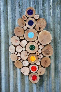 Chakra Meditation art Tree slice wall by WildSliceDesigns on Etsy