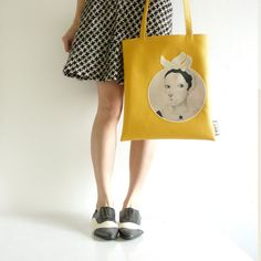 Mustard Yellow Olga Tote Bag. Artistic Cute Quirky by JiabBerlin
