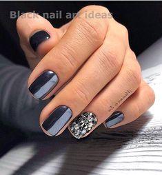 20 SIMPLE BLACK NAIL ART DESIGN IDEAS  #blacknaildesign #nailarts