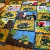 tractors - via Tractor Quilt, John Deere Kids, Sewing Crafts, Sewing Ideas, John Deere Tractors, Paper Piecing Patterns, Little Boys, Quilting, Kids Rugs