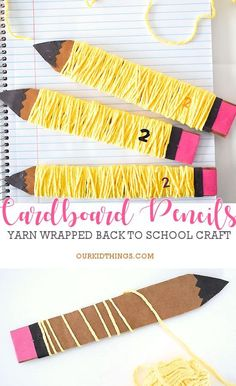 *With direction* - Yarn Wrapped Cardboard Pencil Back To School Crafts For Kids, Back To School Art, Yarn Crafts For Kids, Cute Kids Crafts, Art Activities For Kids, Toddler Crafts, Preschool Crafts, Art For Kids, School Kids