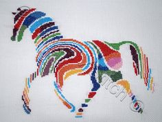 Abstract horse counted cross stitch kit by YiotasXStitch on Etsy