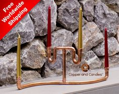 Your place to buy and sell all things handmade Copper Candle Holders, Homemade Gifts, Candlesticks, Contemporary Art, Steampunk, Industrial, Place Card Holders, Decoration, Bottle