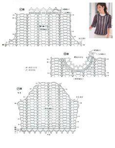 Crochetpedia: Crochet Shirt Blouse Patterns 2 Crochet T Shirts, Crochet Blouse, Crochet Clothes, Crochet Stitches Chart, Crochet Diagram, Crochet Patterns, Free Crochet, Crochet Top, Crotchet Dress