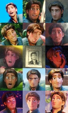 "The many faces of Flynn Rider - lol ""The Smolder"" - ""They can never get my nose right"""
