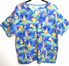 Easter Rabbit Scrub Top Large Bunny Eggs Carrots Flower Pot Basket Butterfly #Life