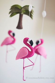 Hot Pink Flamingo Baby Mobile Baby Girl by AContinualLullaby: