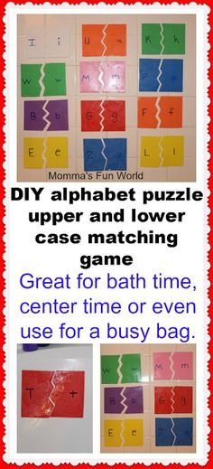 Alphabet Puzzle Learning. Great for learning upper and lower case letters along with working fine motor skills