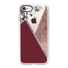 Modern Tri Cut Geometric Faux Rose Gold Silver Marble and Red Wine... ($40) ❤ liked on Polyvore featuring accessories, tech accessories, phone, phone case, technology, iphone case, iphone cases, apple iphone case, red iphone case and iphone cover case