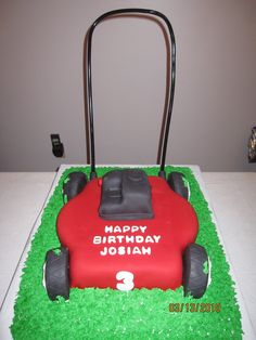 Push Lawn Mower Birthday Cake Made for a friends little boy who LOVES lawn mowers. All edible except for the pvc handle. All fondant with...