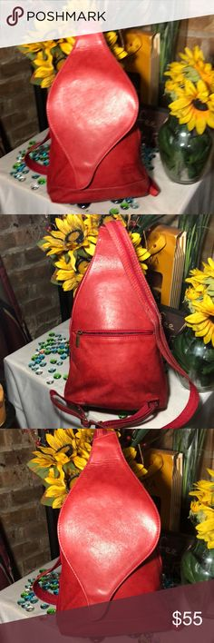 Di Mario Sling back bag Sz 10x14- good condition- genuine leather- clean bag inside out. DI MARIO Bags Backpacks