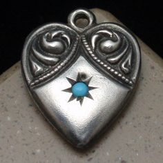 Puffy Heart Charm Vintage Sterling Silver Turquoise Bead #Unbranded