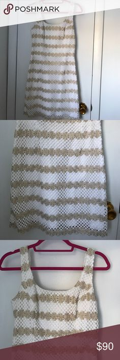 Lilly Pulitzer Dress White and gold Lilly dress Lilly Pulitzer Dresses Midi