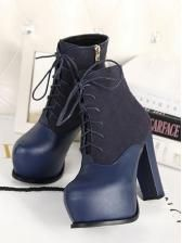Suede matching PU side zipper lacing high-heeled short boots  $ 16.77