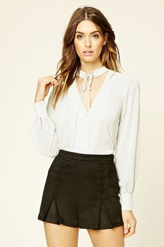 Size small Forever 21 Contemporary - A semi-sheer top featuring a self-tie choker neck above a deep V-cut button-down front and long button-cuff sleeves.