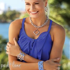Color and Quatrefoil shapes-PARK LANE'S Joyride Necklace and Pierced Earrings-in gold, silver, hematite and rose gold....model wearing Joyride NK in silver, Joyride PE in silver, Connections NK in silver, Chic bracelet in silver and HOSTESS   only South Beach Bracelet in Azure Blue!!!!