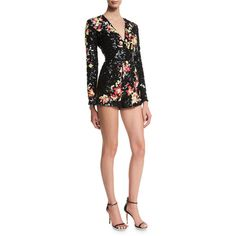 Zuhair Murad Embellished Long-Sleeve Short Jumpsuit (16605 BYR) ❤ liked on Polyvore featuring jumpsuits, floral, v neck jumpsuit, long sleeve jump suit, embellished jumpsuit, short jumpsuits and long sleeve jumpsuit