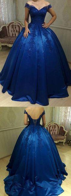 Royal Blue Off Shoulder Lace A line Long Evening Prom Dresses PG577 #prom #dress #evening #party #dresses