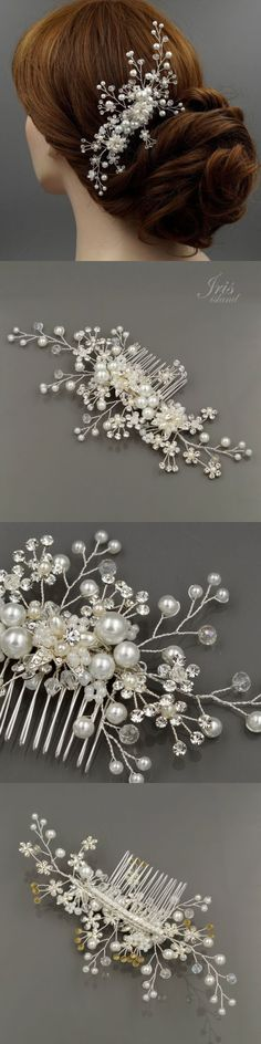Hair and Head Jewelry 110620: Bridal Hair Comb Pearl Crystal Headpiece Hair Clip Wedding Accessories 00421 S BUY IT NOW ONLY: $32.99