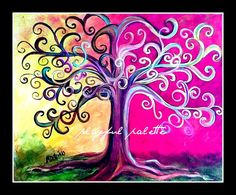 Tree of Life Curley Tree Bold Color Whimsical 8 x 10 by AdoraArt, $7.50