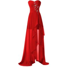 Sunvary High Low Strapless Chiffon Bridesmaid Evening Dresses Prom... ($120) ❤ liked on Polyvore featuring dresses, gowns, long dresses, vestidos, red, royal blue prom dresses, red prom dresses, prom dresses, red evening gowns and prom gowns