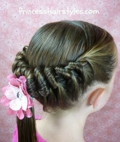 spiral braid hairstyle - her hair may be too slippery to hold this, but who says I can't try anyway!
