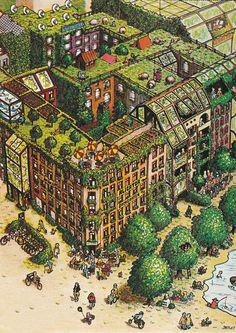 Detlef Surrey - OEKOTOP - Vision of an ecologically transformed quarter in Berlin-Kreuzberg / Zukunftsmodell eines ökologisch umgestalteten Häuserblocks in Berlin-Kreuzberg. (1980) http://detlefsurrey.blogspot.de/1980/12/oekotopia.html ,  http://surrey.de/galerien/bilder-galerie/kategorie/anderes
