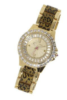 Betsey Johnson: Bet she doesn't have a watch with crystals AND animal print!
