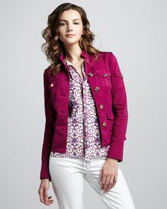 Tory Burch Shrunken Sergeant Jacket & Tanya Tie-Neck Top at Neiman Marcus. Dating Coach, Women's Fashion Dresses, Neiman Marcus, What To Wear, Tory Burch, Leather Jacket, Tie, Ladies Fashion, Stylish