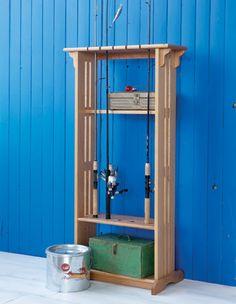 Diy Fishing Rod Holder, Fishing Pole Storage, Fishing Tools, Fishing Stuff, Fishing Guide, Diy Storage, Storage Rack, Locker Storage, Wood Pallet Crafts