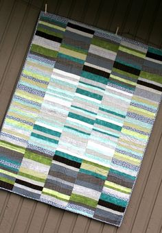 Pieced WOF strips for a modern quilt. Simple idea with great results. Lots of possibilities --A Quilter's Table