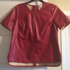 Lightweight red leather top Special piece from the Made collection from fashion week for Macy's. Slight Shirttail hem. Poly leather. Tops