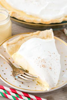 Eggnog Pie - a cream pie made with eggnog! This easy pie recipe has only 4 ingredients!