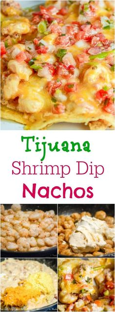 Tijuana Shrimp Dip Nachos make a cheesy, creamy, spicy, and crunchy appetizer that is perfect for game day. Fish Recipes, Seafood Recipes, Mexican Food Recipes, Great Recipes, Cooking Recipes, Favorite Recipes, Nacho Recipes, Skillet Recipes, Cooking Tools