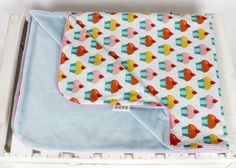 Minky Baby Blanket for Girl Muffins Blue red pink yellow