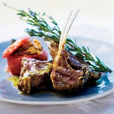 "Grilled Lamb Chops with Ladolemono | Michael Psilakis dresses these luscious lamb chops with ladolemono, a supersimple Greek sauce of lemon juice and olive oil. The sauce is often spooned over fish, but it's delicious on meat and vegetables, too. ""This is real Greek cooking,"" he says."